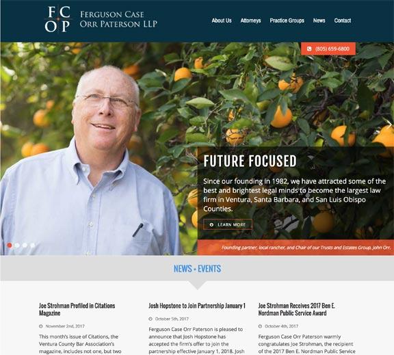 Screenshot of Ventura, CA Law Firm Website Design