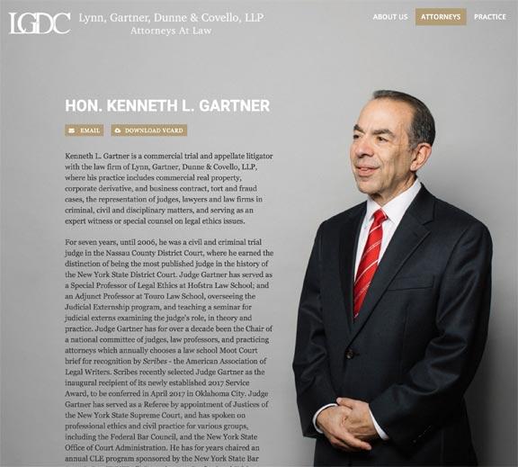 Screenshot of New York Attorney Bio Web Page Design