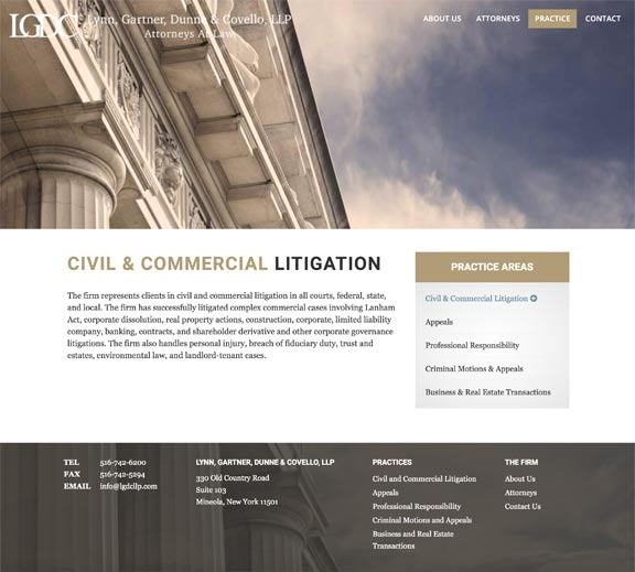 Screenshot of Long Island, NY Attorney Website Design Practice Areas Page
