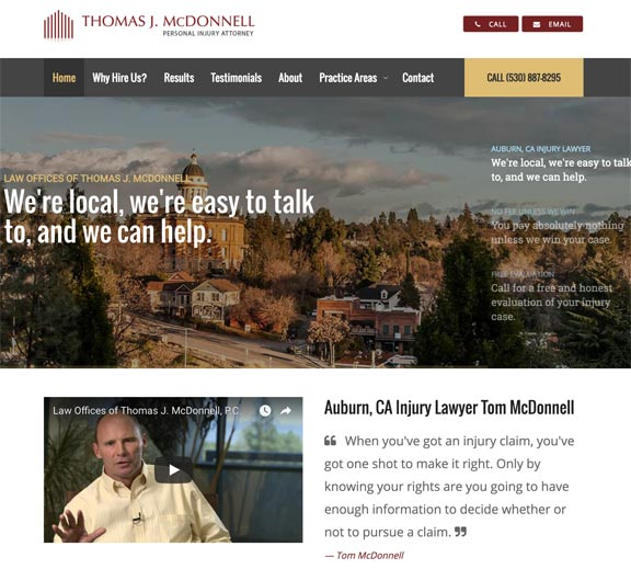 Screenshot of California Personal Injury Attorney Website Design Home Page