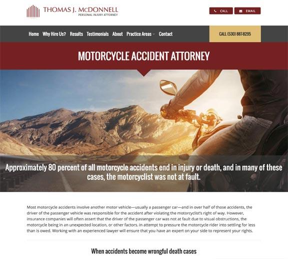 Screenshot of California Personal Injury Practice Area Web Page Design