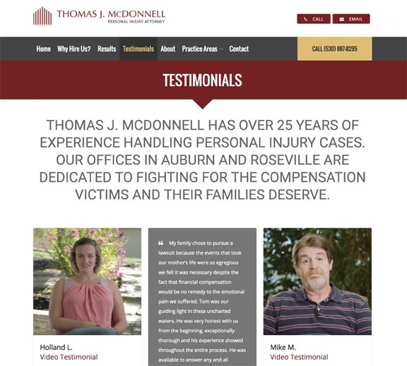 Screenshot of California Injury Attorney Testimonials Webpage Design